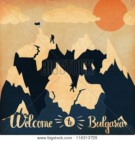 Vintage Handlettering Poster On The Theme Of Winter Tourism. Landscape Mountains Welcome To  Bulgari