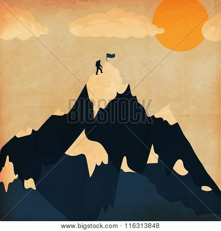 Vintage Poster Winter Ski Tourism. Landscape Mountains. Vector