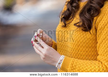 Woman holding a ring