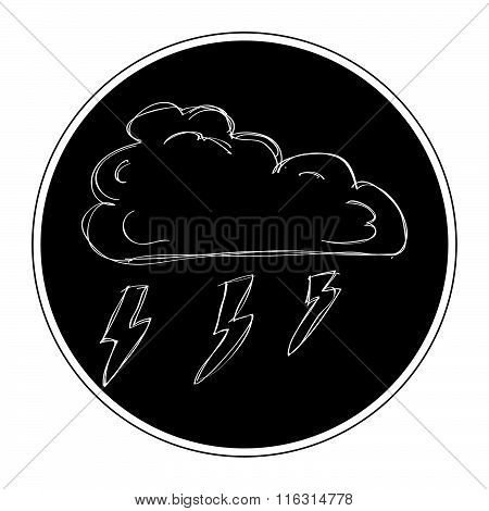 Simple Doodle Of A Cloud With Lightning