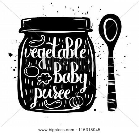 Children Natural Food. A Jar Of Vegan Baby Purees From Fresh Vegetables Isolated On A White Backgrou