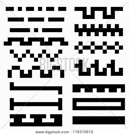 Pixel Monochrome Abstract Symbols Vector Illustration
