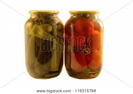 Canned Vegetables Cucumbers And Tomatoes