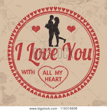 I Love You With All My Heart Sign Or Label