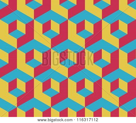 Retro Colored Cubic Geometric Seamless Pattern