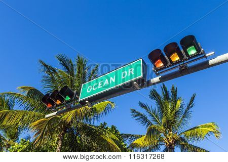 Street Sign Of Famous Street Ocean Drive In South Beach, Miami