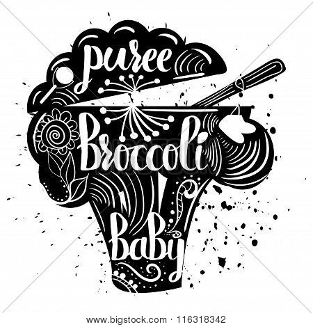 Baby Food Broccoli On A White Background. Baby Puree.vector