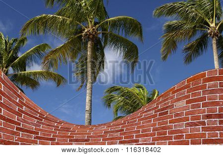 Palm Trees And Brick Wall Fake