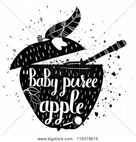 Baby Food From Apple On A White Background. Baby Puree.vector