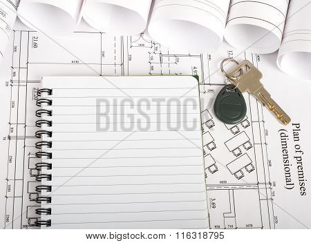 Copy book with key on blueprint