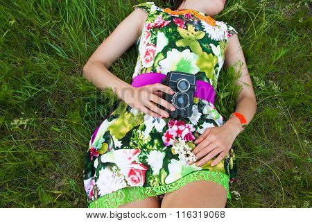 Sexy Woman With Vintage Camera
