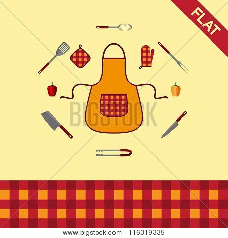 Kitchenware. Set of icons and seamless pattern checkered.