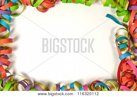 Frame Of Colorful Party Ribbons