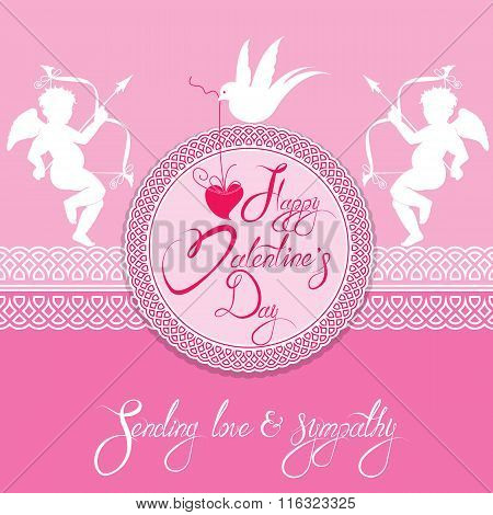 Holiday Card With Round Lace Frame, Cute Angels, Heart And Dove Bird On Pink Background. Handwritten