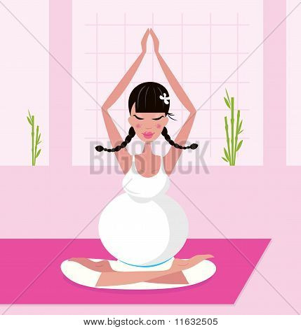 Pregnant woman practicing lotus asana sitting on pink yoga