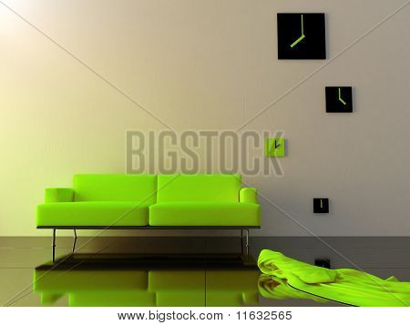 Interior - Green Velvet Sofa And Time Zone Clock