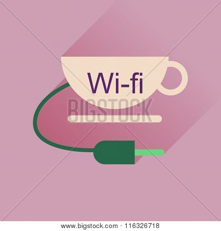 Flat icon with long shadow Wi fi Cup
