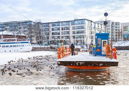 Ordinary Passengers On Small City Boat Fori, Turku