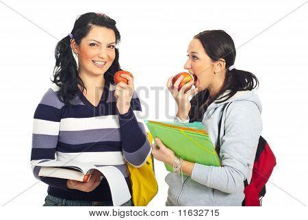 Students Girls In A School Break