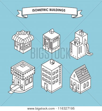 Set Of Isometric Buildings. Black And White Vector Illustration With Cafe, Shop, Factory, Cinema, Ap