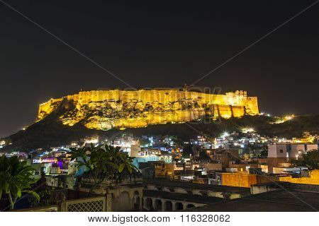 Historical Mehrangarh Fort In Jodhpur At Night, Rajasthan, India