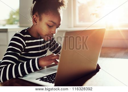 African-american Girl Surfing The Internet At Home