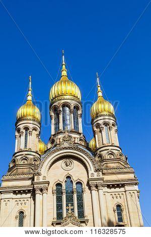 Russian orthodox chapel in Wiesbaden Germany under blue sky