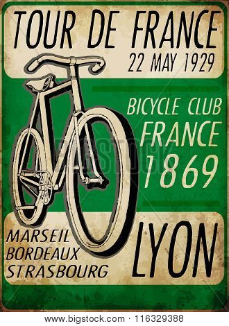 Illustration Sketch Bicycle Tour De France Poster Vintage Bike