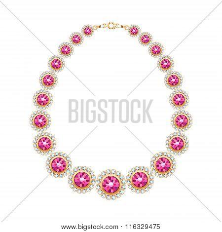 Gemstones chain golden metallic necklace or bracelet.