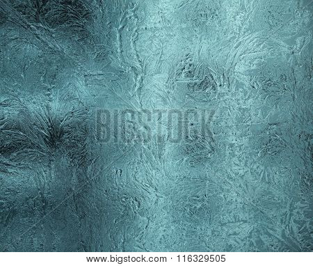 Small Frosty Patterns On Glass In Gray-blue Tone