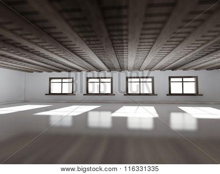 wooden interior room 3d rendering