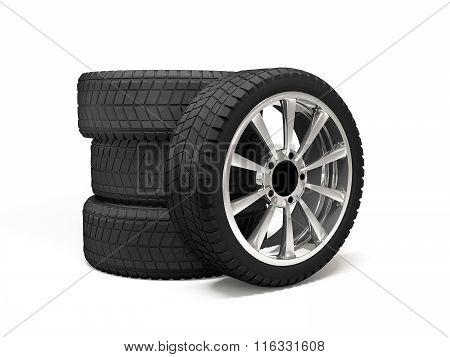 Set four tyres. 3d rendering