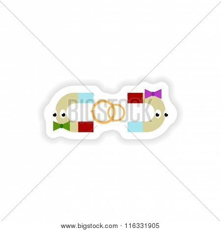 stylish paper sticker on white background romantic magnets