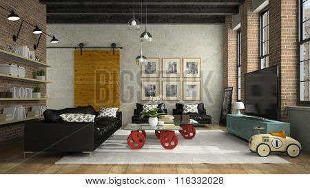 Interior of modern design loft with black sofa 3D rendering