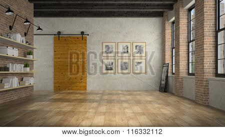 Empty loft room with wooden door 3D rendering