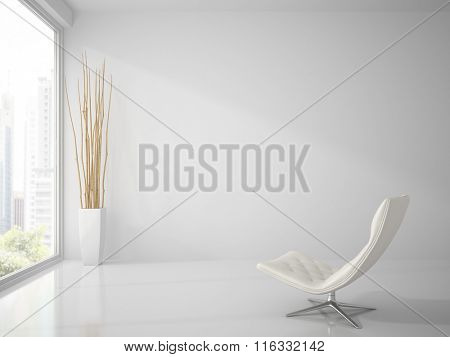 Part of  clean white interior with white armchair 3D rendering