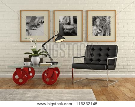 Part of  interior with brick wall and armchair 3D rendering