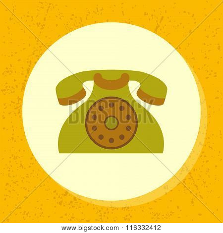 Vector Round Icon Old Retro Green Telephone Symbol Of Contact Us, Support, Phone In Flat Design