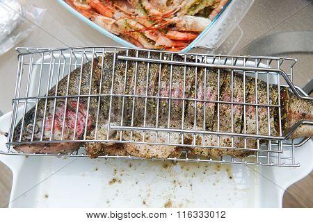 Fish prepared for barbecue