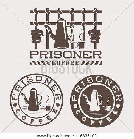 Prisoner Coffee Concept Vector Design Template