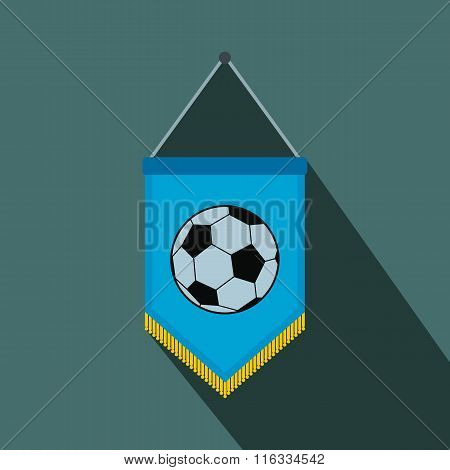 Blue pennant with soccer ball flat icon