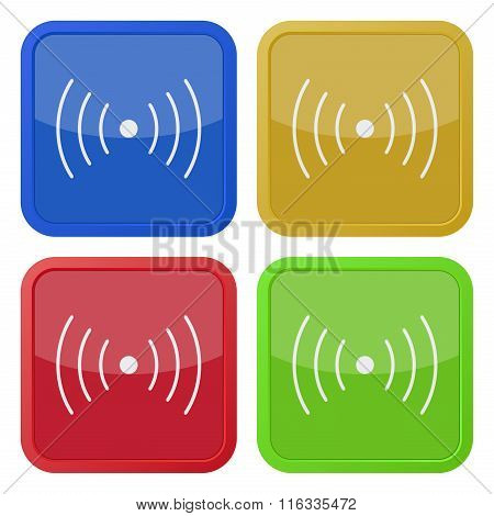 Set Of Four Square Icons - Sound Or Vibration