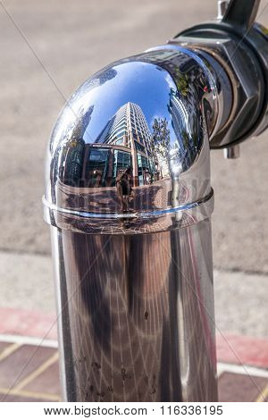 chrome fire hydrant downtown San Diego with mirror effect