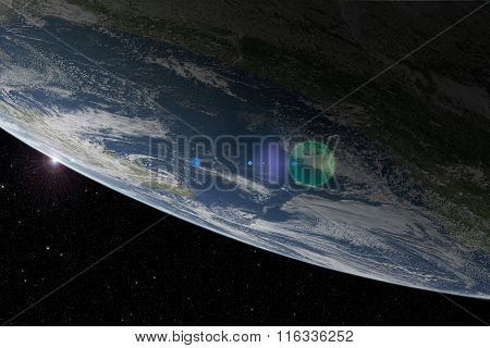 Planet Earth From Above With Lens Flare