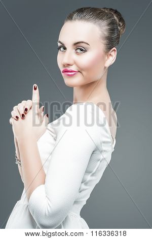 Emotions And Feelings Concept And Ideas. Brunette Caucasian Female In White Dress Posing
