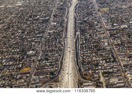 aerial of Los Angeles, USA  with main street