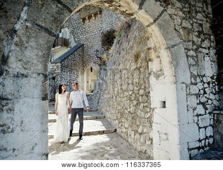 Happy Couple Bride And Groom In Honeymoon In Sperlonga, Italy