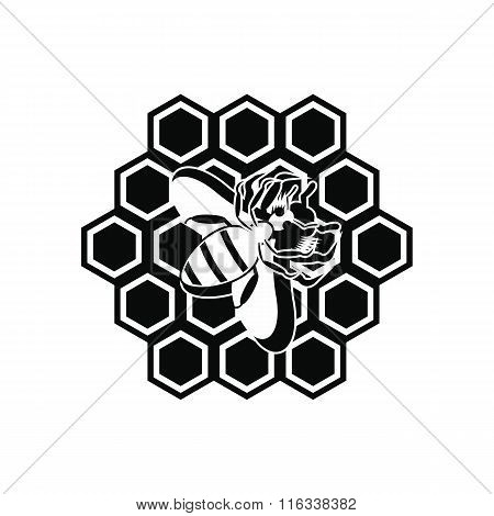 Honeycomb and bee black simple icon