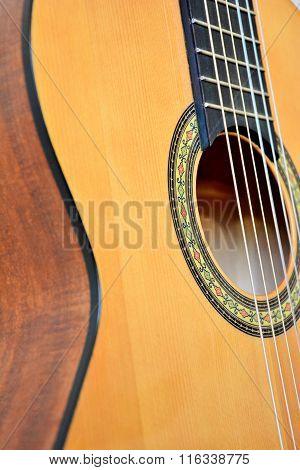 Acoustic guitar closeup view