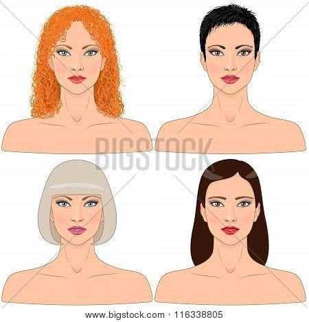 Women  With Different Hairstyles.
